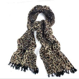 J. Crew cheetah print fringed scarf